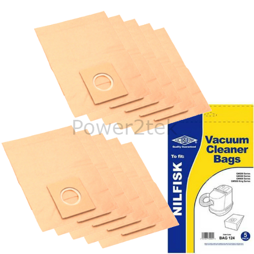 10 x GM Dust Bags for Nilfisk Power Life Power P10 Power P12 Sienna Metallic