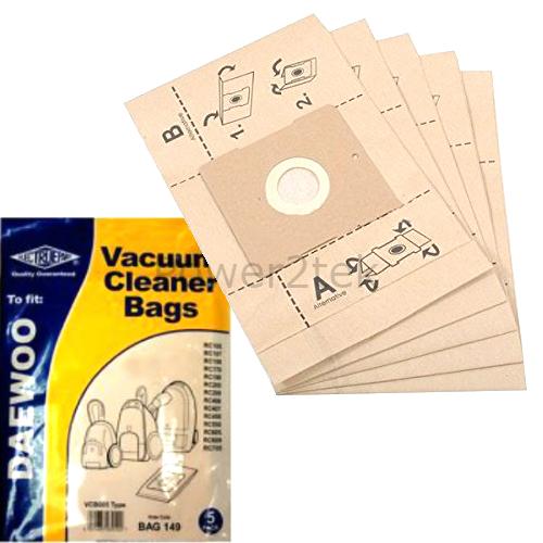 5 x VCB005 poussière sacs pour daewoo RC609 RC7004F RC7009F aspirateur