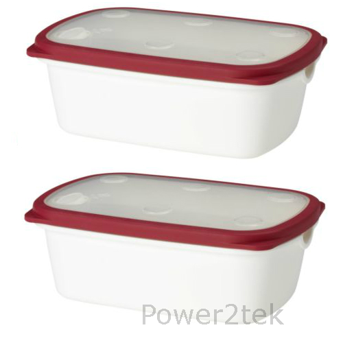 2 x ikea 365 microwave food salad lunch box container storage with lid big red ebay. Black Bedroom Furniture Sets. Home Design Ideas