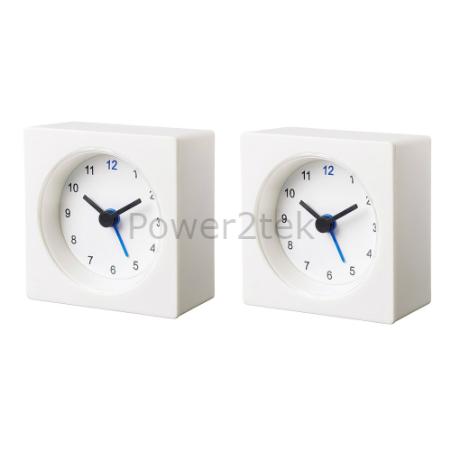 2 x ikea vackis battery operated analog small portable travel alarm clock white ebay. Black Bedroom Furniture Sets. Home Design Ideas