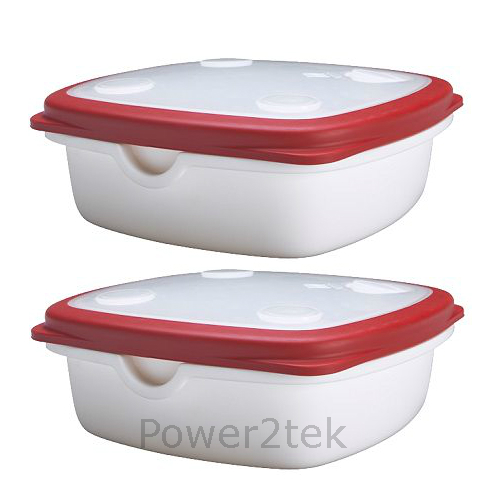 2 x ikea 365 microwave food salad lunch box container storage lid white red uk ebay. Black Bedroom Furniture Sets. Home Design Ideas